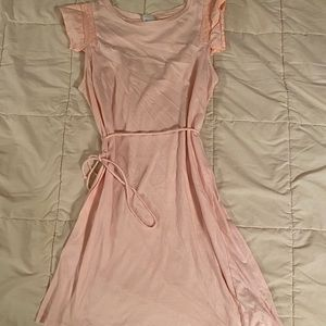 Pink Cotton Casual Dress
